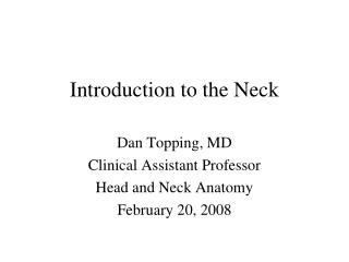 Introduction to the Neck