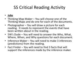 SS Critical Reading Activity