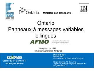 Ontario Panneaux à messages variables bilingues