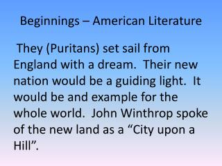 Beginnings – American Literature