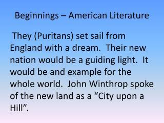 Beginnings � American Literature