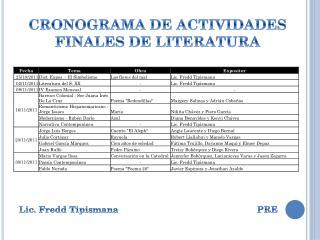 CRONOGRAMA DE ACTIVIDADES FINALES DE LITERATURA