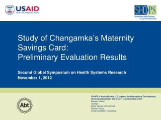 Study of Changamka's Maternity Savings Card:  Preliminary Evaluation Results