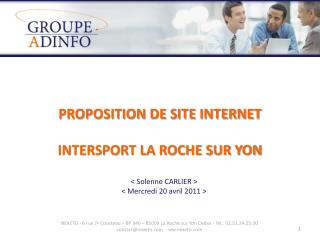 PROPOSITION DE SITE INTERNET  INTERSPORT LA ROCHE SUR YON