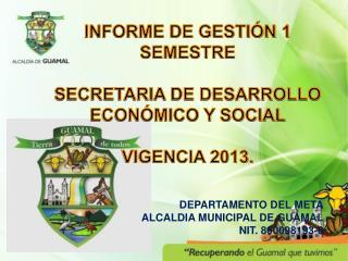 INFORME DE GESTIÓN 1 SEMESTRE SECRETARIA DE DESARROLLO ECONÓMICO Y SOCIAL VIGENCIA 2013.