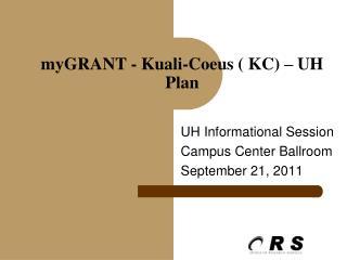 UH Informational Session Campus Center Ballroom September 21, 2011