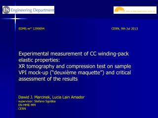 Experimental measurement of CC winding-pack elastic  properties :