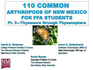 110 COMMON  ARTHROPODS OF NEW MEXICO FOR FFA STUDENTS Pt. 3--- Thysanura  through  Thysanoptera