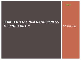 Chapter 14:  From  Randomness  to Probability