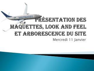 Présentation des Maquettes, Look and  Feel  et Arborescence du site