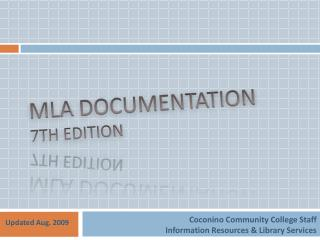 MLA  Documentation 7th edition