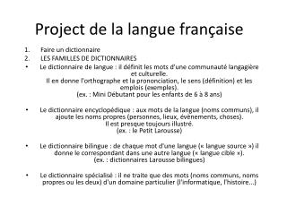 Project de la langue  française