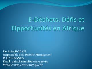 E- Déchets :  Défis  et  Opportunités  en  Afrique