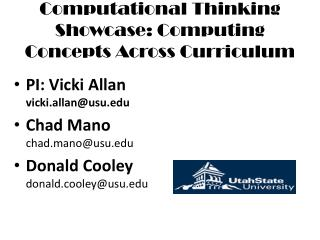 Computational Thinking Showcase: Computing Concepts Across Curriculum