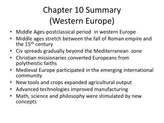 Chapter 10  Summary  (Western Europe)