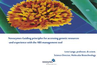 Novozymes Guiding principles for accessing genetic resources  -and experience with the ABS management tool