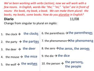 Diario 11/08 Change from singular to plural  en  inglés :