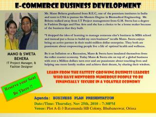 Agenda: BUSINESS PLAN PRESENTATION Date:/Time:  Thursday,  Nov  25th,  2010 – 7:30PM