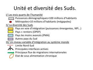 Unité et diversité des  Suds .