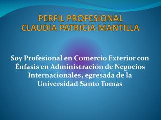 PERFIL PROFESIONAL CLAUDIA PATRICIA MANTILLA
