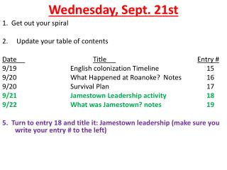 Wednesday ,  Sept.  21st