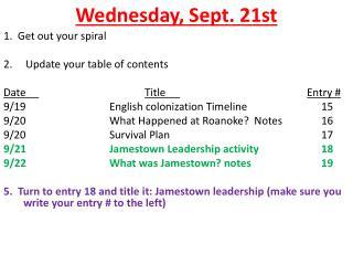 Wednesday ,  Sept.  21st