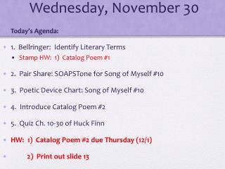 Wednes day , November 30
