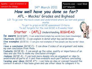 Starter  - (AFL)  Understanding  BIGHEAD