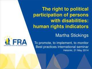 The right to political participation of persons with disabilities:  human rights indicators