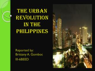 The urban revolution in the  philippines