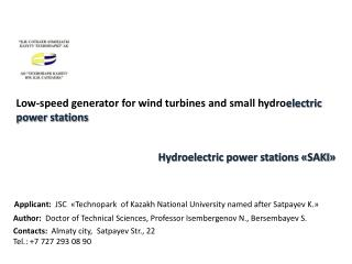 Low-speed generator for wind turbines and small  hydro electric power stations