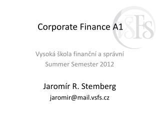 Corporate  Finance A1