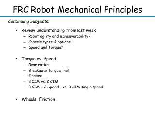 FRC Robot Mechanical Principles
