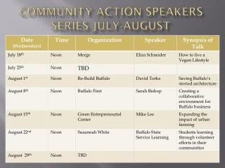 Community Action Speakers Series July-August
