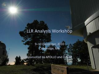 LLR Analysis Workshop