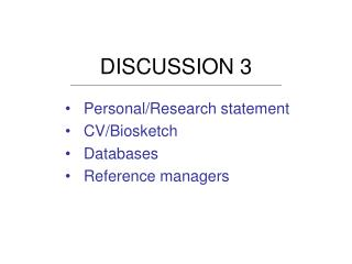 DISCUSSION 3 PersonalResearch statement