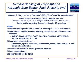 Remote Sensing of Tropospheric Aerosols from Space: Past ...