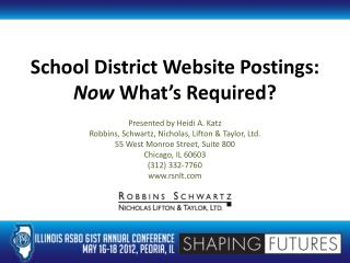 School District Website Postings: Now  What's Required?