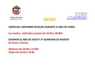 Telf.- 91·302·16·36 Fax.- 91·766·84·71 E-mail.-  creymad@planalfa.es www.colegiocristoreymadrid.es