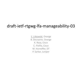 draft-ietf-rtgwg-lfa-manageability-03