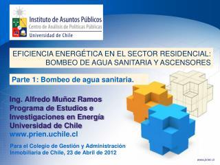 Ing. Alfredo Muñoz Ramos Programa de Estudios e Investigaciones en Energía Universidad de Chile