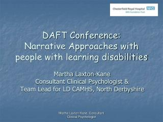 DAFT Conference:  Narrative Approaches with people with learning disabilities