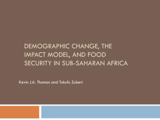 Demographic change, the IMPACT model, and food security in sub-Saharan Africa