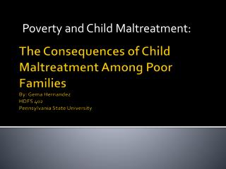 Poverty and Child Maltreatment: