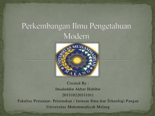 Perkembangan Ilmu Pengetahuan  Modern