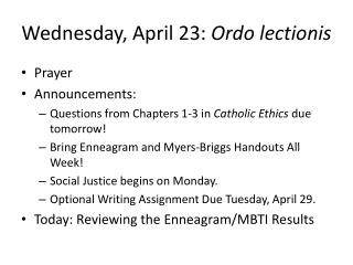 Wednesday , April  23:  Ordo lectionis