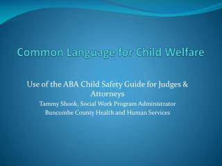 Common Language for Child Welfare
