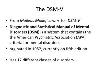 The DSM-V