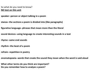 So what do you need to know? NO test on this unit speaker--person or object talking in a poem