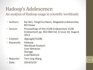 Hadoop's  Adolescence: An analysis of Hadoop usage in scientific workloads